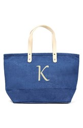 Cathy's Concepts 'Nantucket' Personalized Jute Tote Blue Blue K