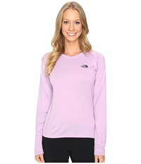 The North Face Long Sleeve Lfc Reaxion Amp Tee Lupine Asphalt Grey Women's Long Sleeve Pullover Pink