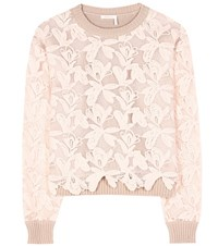 See By Chloe Cotton Lace Sweater Pink