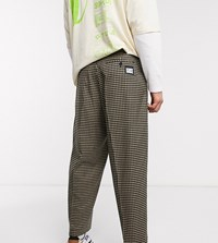 Reclaimed Vintage Micro Check Trousers In Black