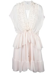Givenchy Ruffle Trim Sheer Panel Dress Pink Purple