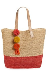 Mar Y Sol Montauk Woven Tote With Pom Charms Coral