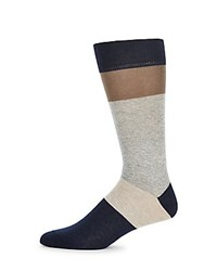 Saks Fifth Avenue Made In Italy Jaspe Thick Stripe Socks Royal Blue