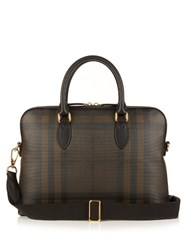 Burberry Barrow London Check Briefcase Brown Multi
