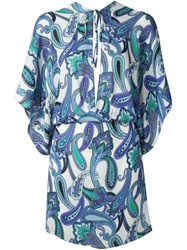 Etro Paisley Print Tunic Top Blue