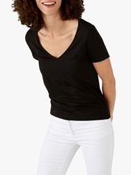 Pure Collection Jersey V Neck Short Sleeve Top Black