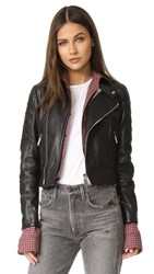 Dsquared2 Leather Sports Jacket Red Black