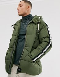 Sixth June Hooded Puffer Jacket With Faux Fur Hood Green