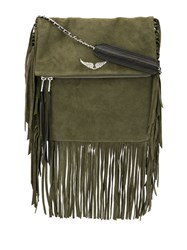 Zadig And Voltaire Rockson Fringed Cross Body Bag Green
