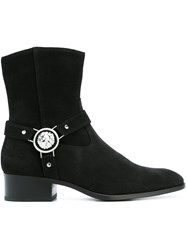 Versus Lion Head Detail Boots Black