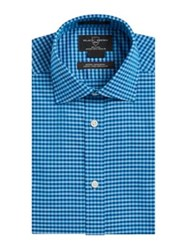 Black Brown Gingham Cotton Dress Shirt Teal