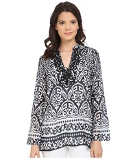Hale Bob Thrills And Frills Hand Beaded Tunic Black White Women's Blouse