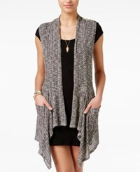 American Rag Juniors' Crocheted Back Draped Vest Only At Macy's Black