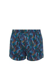 Derek Rose Plant Print Silk Boxer Shorts Multi