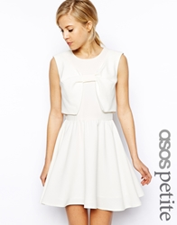 Asos Petite Skater Dress With Bow Front Ivory