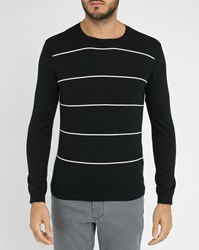 Ikks Black Round Neck Sweater With White Stripes