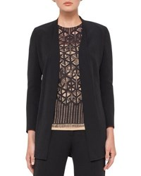 Akris Open Front Wool Blend Cardigan Jacket Black