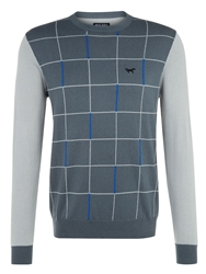 Wolsey Grid Panel Crew Neck Pull Over Jumper Grey