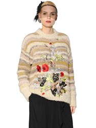 Antonio Marras Floral Embroidered Striped Wool Sweater