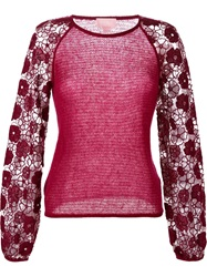 Giamba Floral Embroidered Sleeve Sweater Pink And Purple