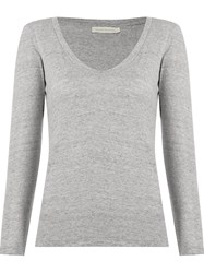 Giuliana Romanno Deep V Neck Longsleeved Blouse Grey