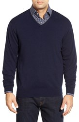 Men's Peter Millar Tipped Cashmere Blend V Neck Sweater Royal