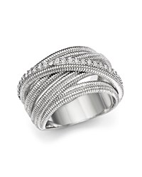 Judith Ripka Multi Band Mercer Wrap Ring With White Sapphire White Silver