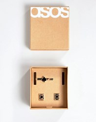 Asos Design Gift Set With Tie Bar And Cufflinks With Playing Cards Gold