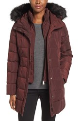 Calvin Klein Women's Hooded Water Resistant Puffer Coat With Faux Fur Trim Chianti