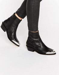 Asos Aphrodite Leather Western Ankle Boots Black Leather