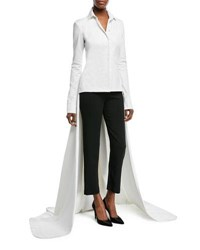 Brandon Maxwell Poplin Blouse W Floor Length Train White