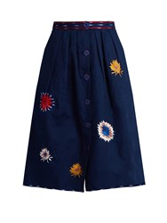 Thierry Colson Riviera Embroidered Cotton Midi Skirt Blue Multi