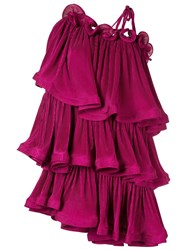 Romance Was Born Bloom Pleat Tiered Dress Purple