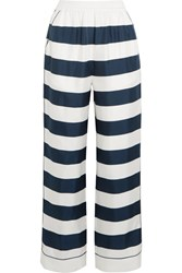 Dolce And Gabbana Striped Silk Twill High Rise Pants White