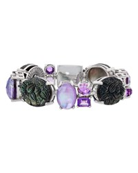 Stephen Dweck Carved Mother Of Pearl And Amethyst Bracelet
