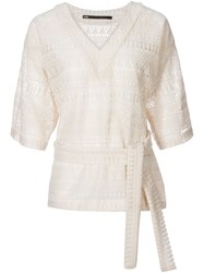 Yoshio Kubo Shortsleeved Crochet Lace Blouse White