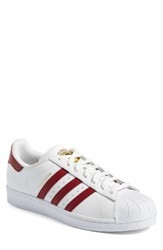 Adidas Men's 'Superstar Foundation' Sneaker White Burgundy Gold Metallic