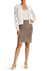 Elie Tahari Haley Genuine Lamb Suede Skirt Brown