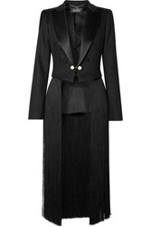 Adam By Adam Lippes Convertible Cropped Fringed Satin Trimmed Twill Blazer Black