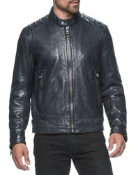 Andrew Marc New York Boarder Lambskin Moto Jacket Ink