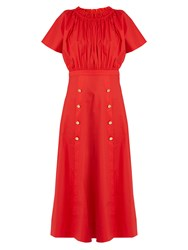 Saloni Dakota Off The Shoulder Stretch Cotton Midi Dress Red