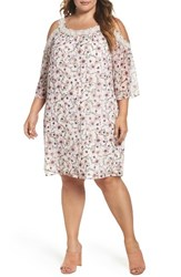 Daniel Rainn Plus Size Women's Lace Trim Cold Shoulder Shift Dress