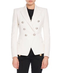 Balmain Double Breasted Wool Blazer Pink
