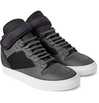 Balenciaga Leather Suede Neoprene And Mesh Sneakers Gray