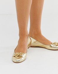Love Moschino Ballet Flat In Gold