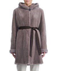 Gorski Sheared Mink Hooded Reversible Coat Taupe