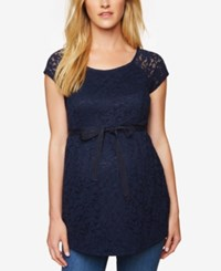Motherhood Maternity Lace Peplum Blouse Navy
