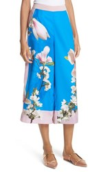 Ted Baker London Harmony Print Wide Leg Culotte Pants Bright Blue