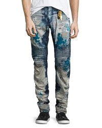 Robin's Jeans Distressed Slim Fit Moto Blue