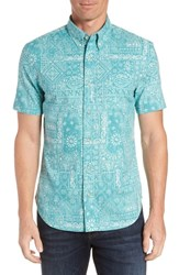 Reyn Spooner Aloha Bandana Regular Fit Sport Shirt Teal